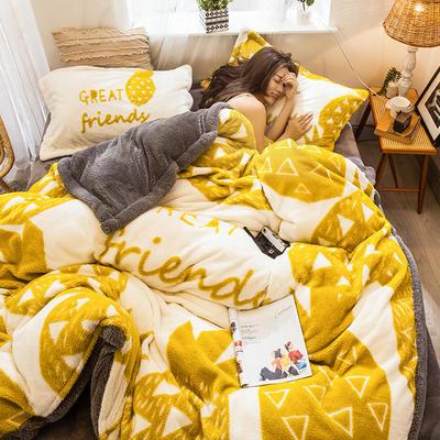 2019新款立体大版舒暖绒四件套 1.8m床单款四件套【平网】 菠萝