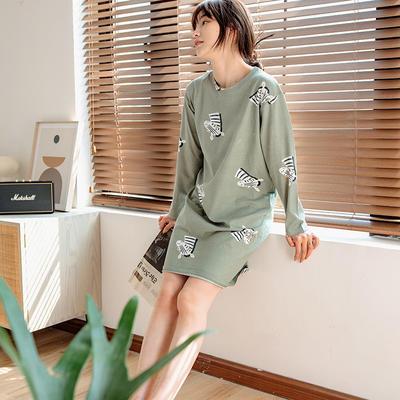 2020新款针织印花家居服-长袖款 均码 斑马-睡裙