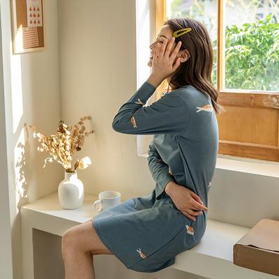 2020新款针织印花家居服-长袖款 均码 橙鱼-睡裙