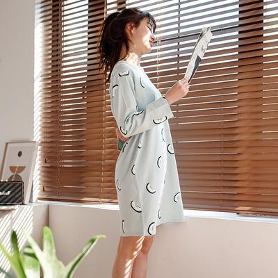 2020新款针织印花家居服-长袖款 均码 火龙果-睡裙