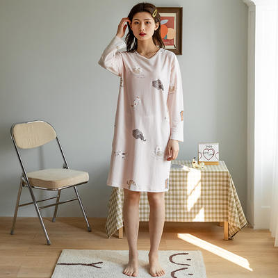 2020新款针织印花家居服-长袖款 均码 猫咪-睡裙