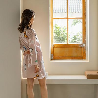 2020新款针织印花家居服-长袖款 均码 萌宠-睡裙