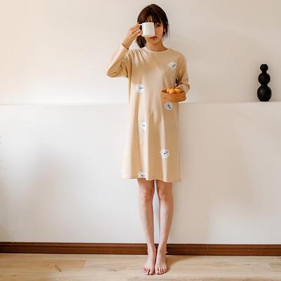 2020新款针织印花家居服-长袖款 均码 小熊-睡裙