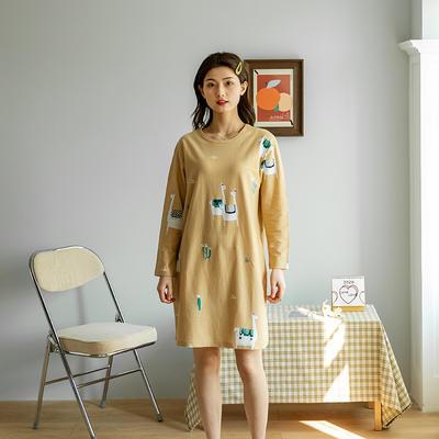 2020新款针织印花家居服-长袖款 均码 羊驼-睡裙