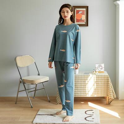 2020新款针织印花家居服-长袖款 均码 橙鱼-套装
