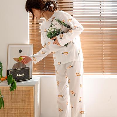 2020新款针织印花家居服-长袖款 均码 凤梨-套装