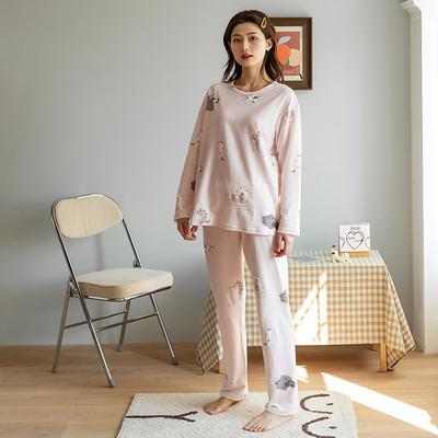2020新款针织印花家居服-长袖款 均码 猫咪-套装
