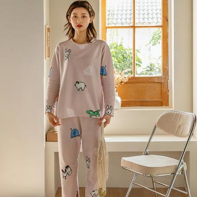 2020新款针织印花家居服-长袖款 均码 萌宠-套装