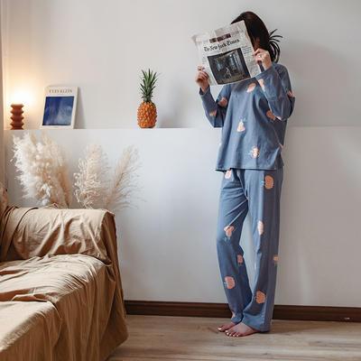 2020新款针织印花家居服-长袖款 均码 南瓜-套装