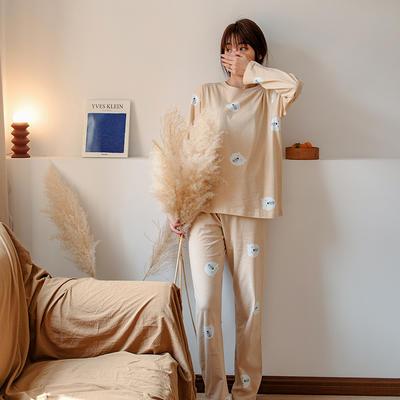 2020新款针织印花家居服-长袖款 均码 小熊-套装