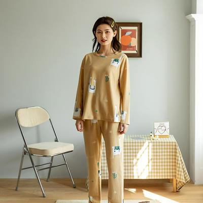 2020新款针织印花家居服-长袖款 均码 羊驼-套装