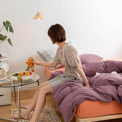 2020新款A类针织棉双拼/撞色系列四件套 1.2m床单款三件套 双拼-橙仑