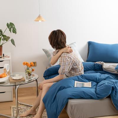 2020新款A类针织棉双拼/撞色系列四件套 1.2m床单款三件套 双拼-醇蓝