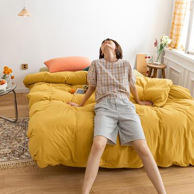 2020新款A类针织棉双拼/撞色系列四件套 1.2m床单款三件套 撞色-翠润嫣黄