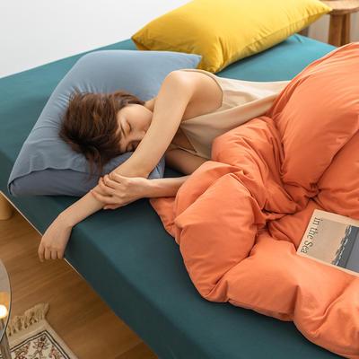 2020新款A类针织棉双拼/撞色系列四件套 1.2m床单款三件套 撞色-密瓜沙律