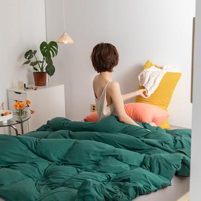 2020新款A类针织棉双拼/撞色系列四件套 1.2m床单款三件套 撞色-盛绿初秋