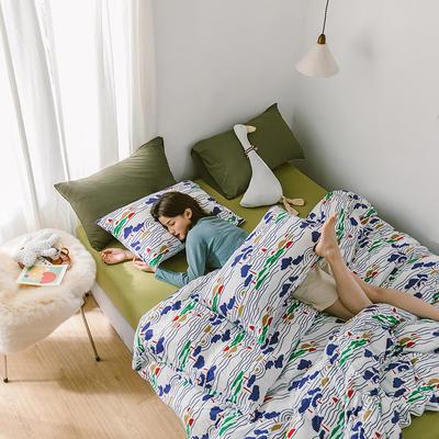 2020第二季针织棉(日系和风)系列四件套 1.2m床单款三件套 春树