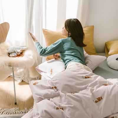 2020第二季针织棉(日系和风)系列四件套 1.2m床单款三件套 鱼旗-粉