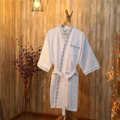 酒店浴袍  全棉华夫格浴袍 均码 银绣