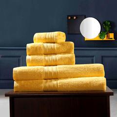 毛巾浴巾 梵高毛浴巾三件套 杏黄