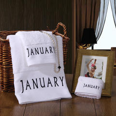 毛巾浴巾 十二星座十二月绣花系列毛浴巾 月份套装 一月份