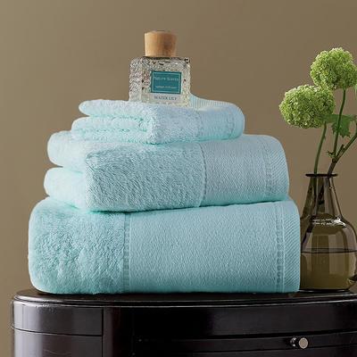 毛巾浴巾  素色印花棉系列套装 淡蓝色三件套