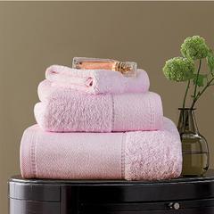 毛巾浴巾  素色印花棉系列套装 粉色