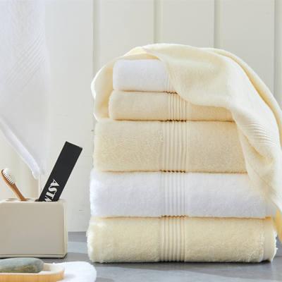 诺亚双色系列 五星级酒店毛巾浴巾 白色毛巾35*75 125克