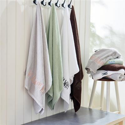 Why系列毛巾Ins个性绣花浴巾四色可选 白色毛巾32*70 100克