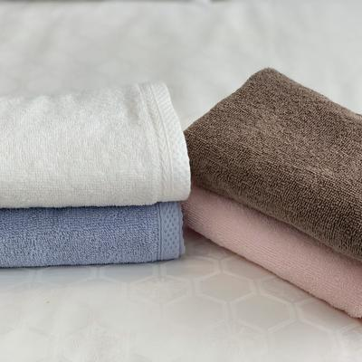 4色全棉素雅毛巾面巾 白色