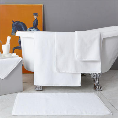 星级酒店宾馆全棉地巾地垫强吸水耐用 50*80*450克 白色