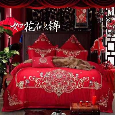 闯皇国际60支长绒棉婚庆四件套大红全棉纯棉新婚结婚床上用品婚房 2.0m(6.6英尺)床 如花似锦