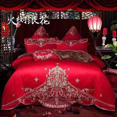 闯皇国际60支长绒棉婚庆四件套大红全棉纯棉新婚结婚床上用品婚房 2.0m(6.6英尺)床 火树银花