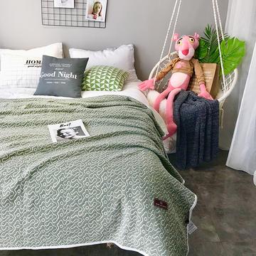 针织大提花盖毯夏被 150x200cm 自由(绿)