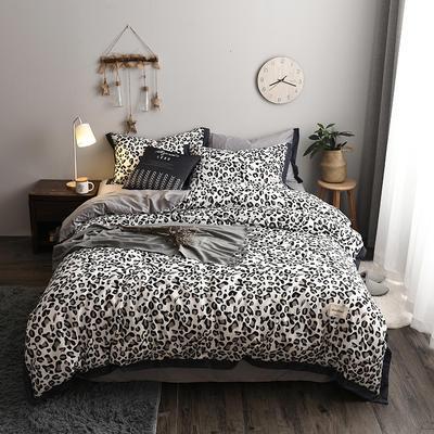 2018新款-北欧格子+英文织带拼接工艺款 床笠款被套加大1.8m床 豹纹女郎