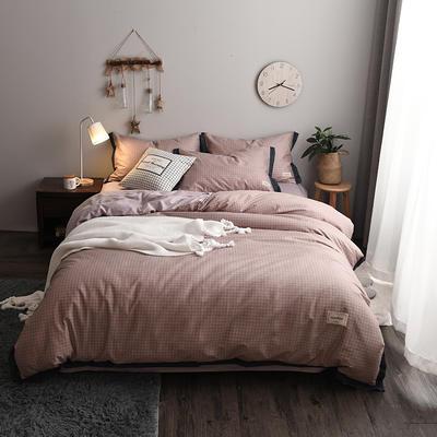 2018新款-北欧格子+英文织带拼接工艺款 床笠款被套加大1.8m床 格韵-粉