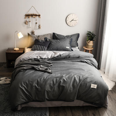 2018新款-北欧格子+英文织带拼接工艺款 床笠款被套加大1.8m床 爵士