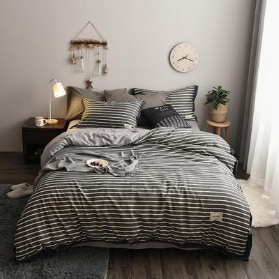 2018新款-北欧格子+英文织带拼接工艺款 床笠款被套加大1.8m床 平行空间