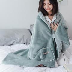 22018新款-时尚多功能懒人毯 60*170cm 墨绿