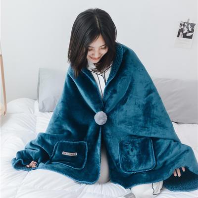 22018新款-时尚多功能懒人毯 45*140cm 深海蓝