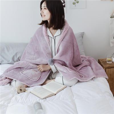 22018新款-时尚多功能懒人毯 45*140cm 紫灰色