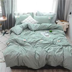 2018新款-水洗棉毛巾绣四件套(单品被套) 155*210cm 向阳花-绿