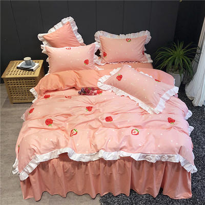 2019新款-韩式床裙少女公主风四件套(实拍图) 床单款三件套1.2m(4英尺)床 草莓派粉