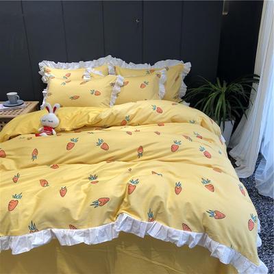 2019新款-韩式床裙少女公主风四件套(实拍图) 床单款三件套1.2m(4英尺)床 二次元黄