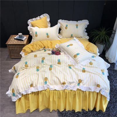 2019新款-韩式床裙少女公主风四件套(实拍图) 床单款三件套1.2m(4英尺)床 甜凤梨