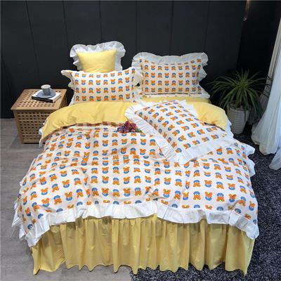 2019新款-韩式床裙少女公主风四件套(实拍图) 床单款四件套1.8m(6英尺)床 网红花