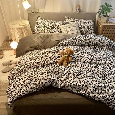 2019新款-棉绒四件套实拍 床单款三件套1.2m(4英尺)床 豹纹女郎