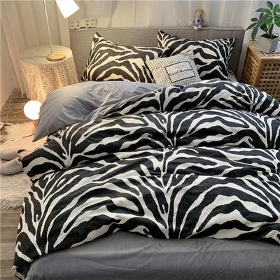2019新款-棉绒四件套实拍 床单款三件套1.2m(4英尺)床 豹纹诱惑