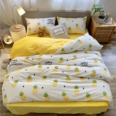 2019新款-棉绒四件套实拍 床单款三件套1.2m(4英尺)床 菠萝