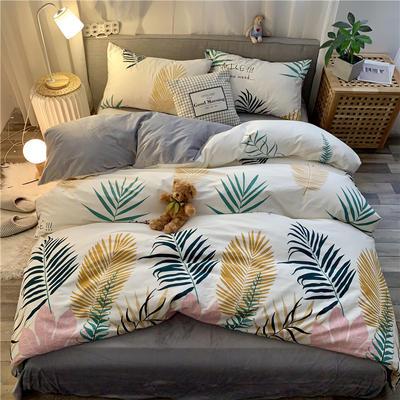 2019新款-棉绒四件套实拍 床单款三件套1.2m(4英尺)床 彩叶